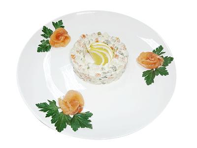 Салат с семгой по-старорусскому рецепту