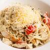 Фото к позиции меню Спагетти с индейкой и соусом песто