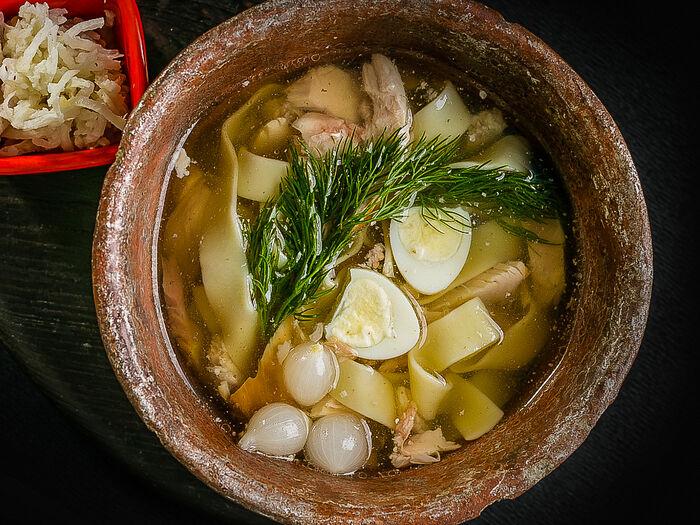 Суп с подкопченным цыпленком