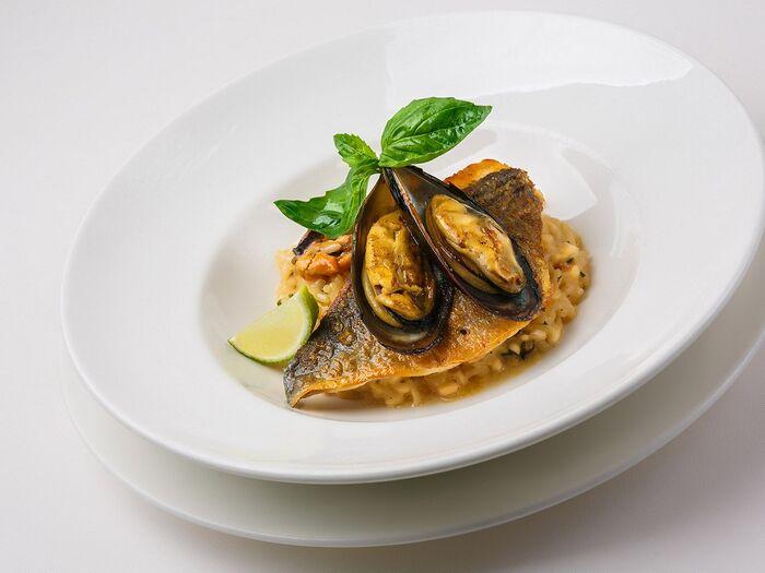 Ризотто с морепродуктами и филе дорадо