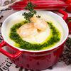 Фото к позиции меню Сливочно-сырный крем-суп с тигровыми креветками