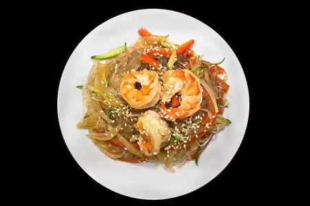Горячий салат Фунчоза с креветкой