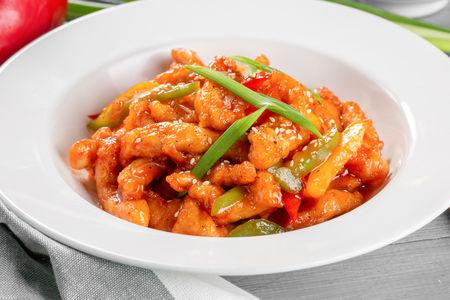 Курица в имбирном соусе с рисом