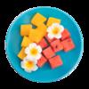 Фото к позиции меню Фруктовый микс, Арбуз красный и желтый кубиками