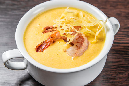Сырный суп с креветками
