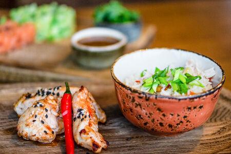 Куриное филе в кисло-сладком соусе с рисом басмати