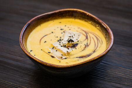Суп Грушевый с сыром бри и гранатовым соусом