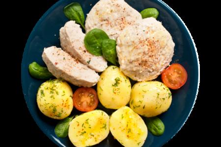 Котлеты из мяса птицы паровые с отварным картофелем