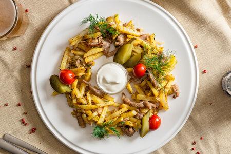 Картофель жареный со свининой по-домашнему