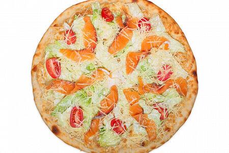 Пицца Цезарь со слабосолёным лососем