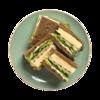 Фото к позиции меню Клаб сэндвич с бужениной и маринованными огурцами