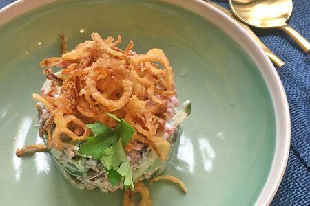 Салат мясной с жаренными грибами