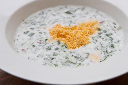 Суп из мацони со льдом и зеленью