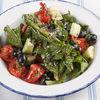 Фото к позиции меню Салат из свежих огурцов и помидоров с ореховым соусом и оливками