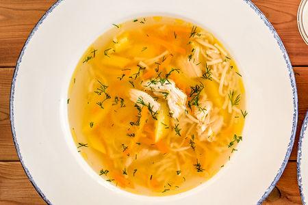 Домашний суп с курицей и лапшой