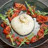 Фото к позиции меню Буррата с крабом и помидорами