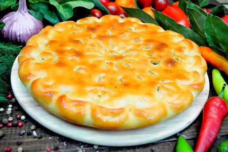 Пирог с картошкой, зеленью и сыром
