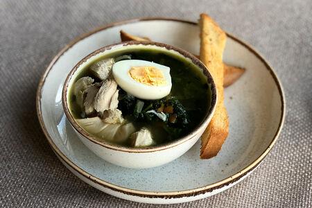 Суп Щавелевый с курицей, яйцом и сметаной