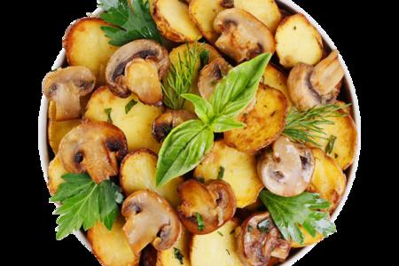 Картофель с шампиньонами жареный