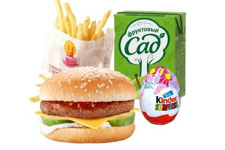 Детский ланч с чизбургером (для девочки)