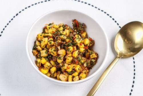 Кукуруза со сладким луком и перцем