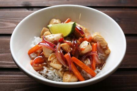 Рис с цыпленком терияки