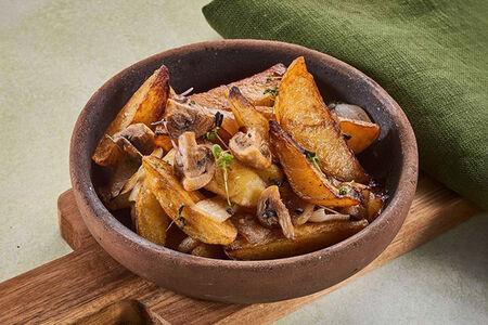 Картофель с грибами на кеци