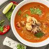 Фото к позиции меню Суп Том Ям с морепродуктами и японским рисом