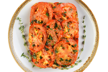 Баклажаны с помидорами и чесноком жареные