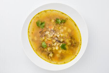 Грибной суп с томлёной перловкой