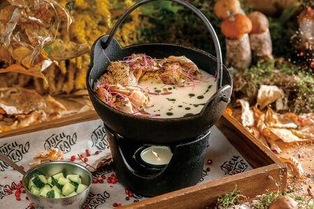 Суп с копченой скумбрией и огурцом