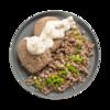 Фото к позиции меню Биточек из телятины паровой с гречкой