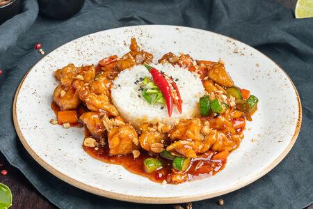 Цыпленок гунбао с овощами