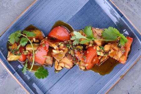 Салат тёплый из баклажанов с острым кисло-сладким соусом
