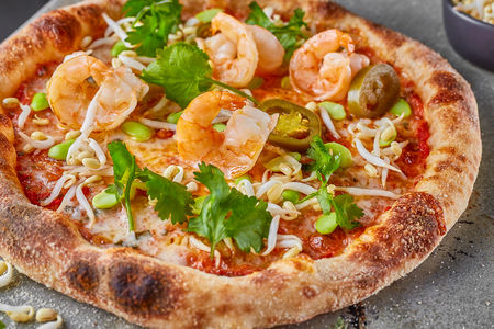 Пицца Кальмары, креветки, рапан, мидии