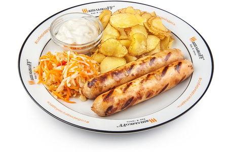 Колбаски Чикен-гриль жареный картофель