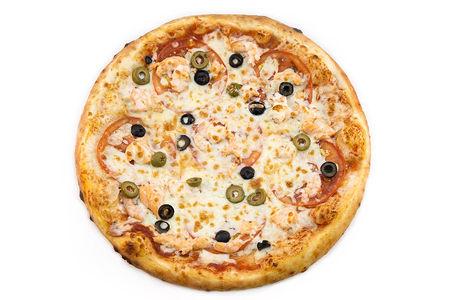 Пицца Лосось и тигровые креветки