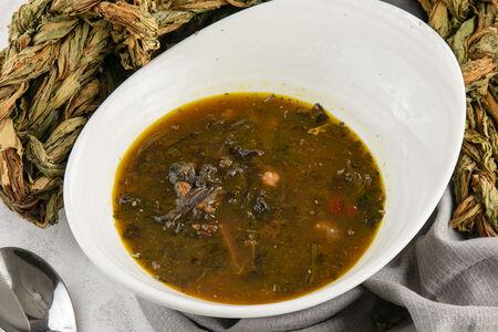 Суп из авелука с чечевицей