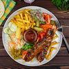 Фото к позиции меню Шах-гриль кебаб говяжий на тарелке