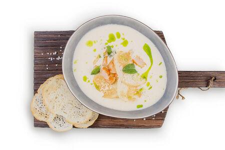 Крем-суп картофельный с креветками