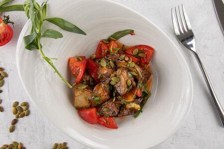 Салат из обжаренных баклажанов с помидорами