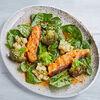 Фото к позиции меню Лосось с брокколи и шпинатом в остро сладком соусе