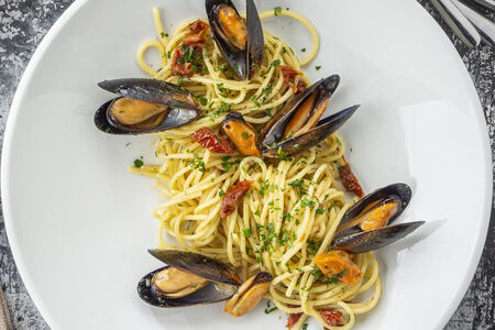 Паста Спагетти с голубыми мидиями