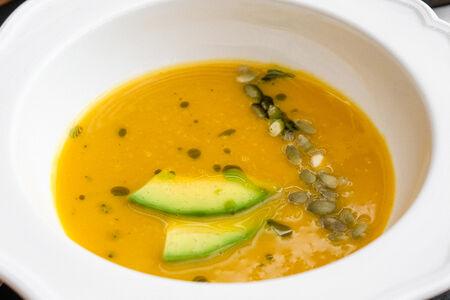 Тыквенный суп с авокадо