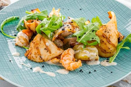 Командорский кальмар с картофелем