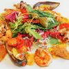 Фото к позиции меню Салат с обжаренными морепродуктами