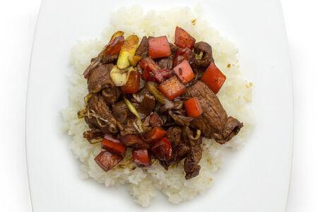 Свиная грудинка с кориандром и рисом