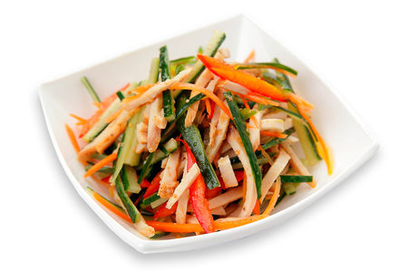 Салат с филе цыплёнка и овощами
