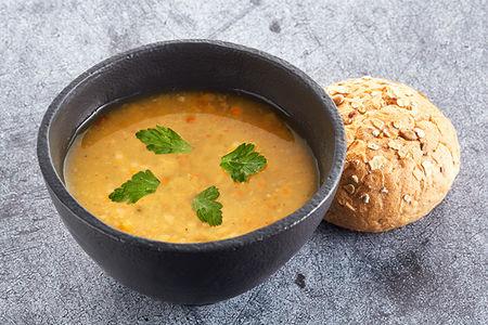 Суп гороховый постный с булочкой двойная порция