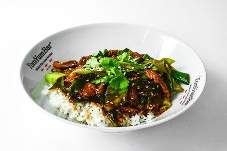 Баранина с пореем и рисом